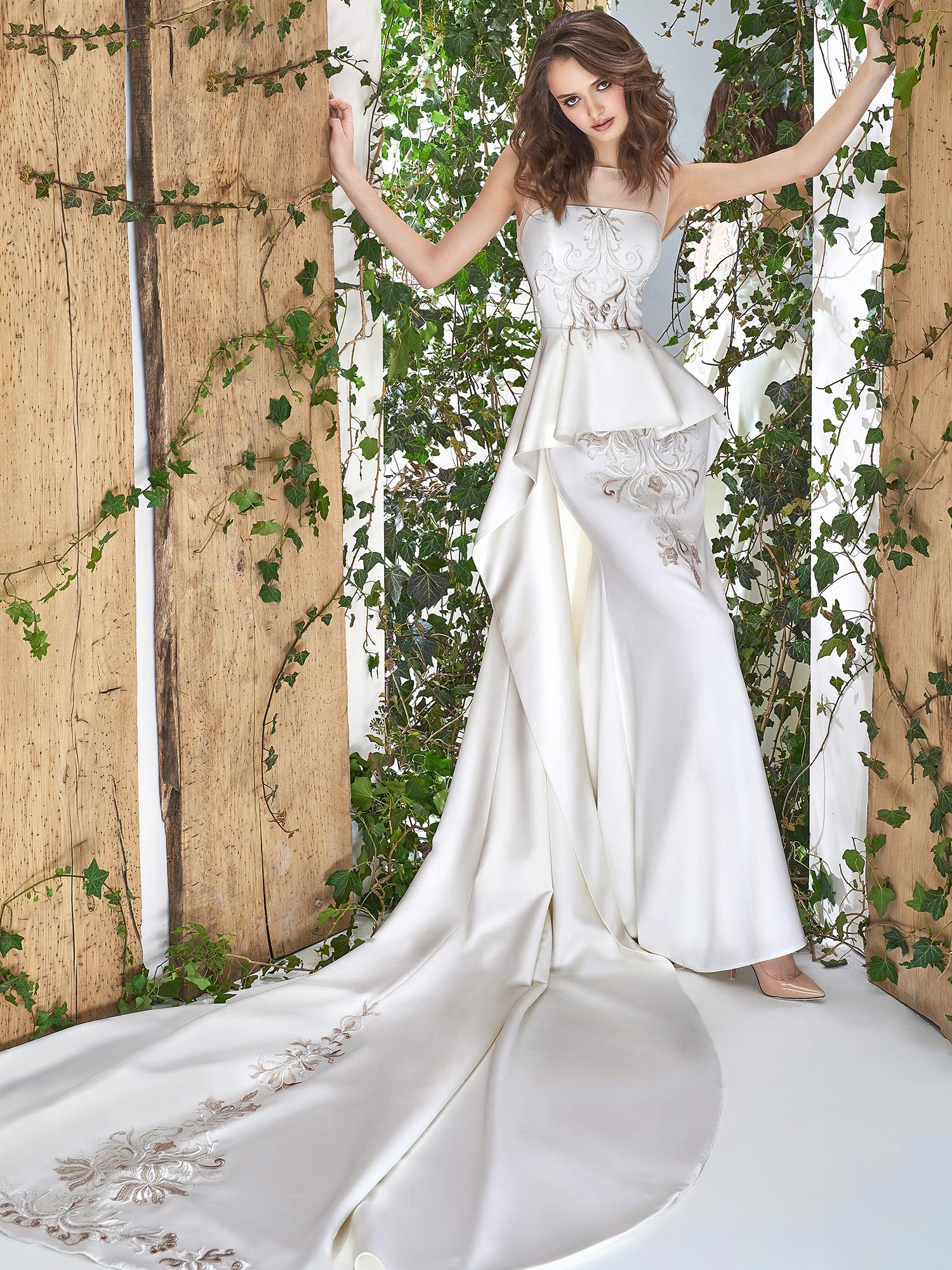 Papilio Illusion neckline wedding gown with peplum skirt and embroidery