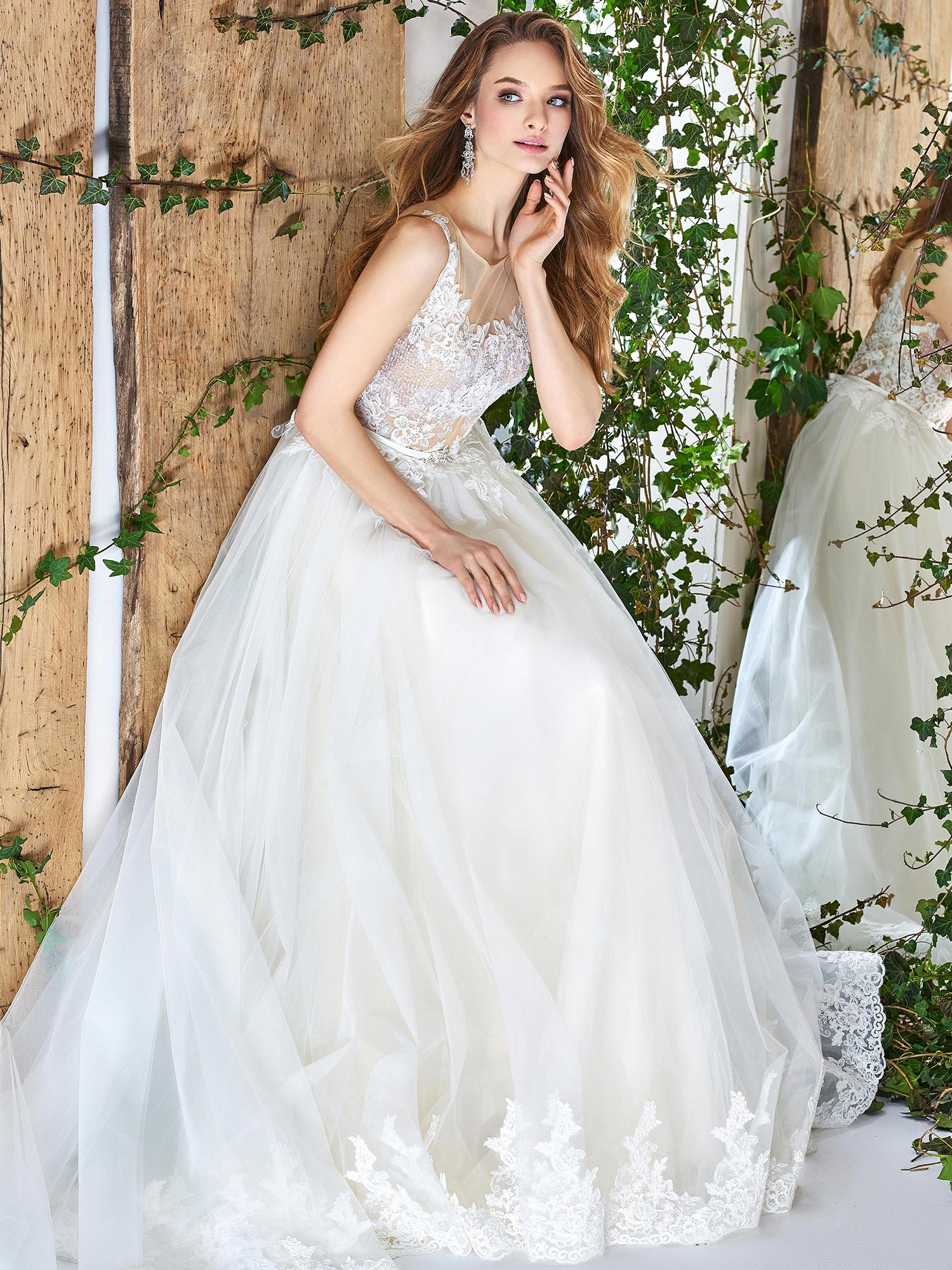 Papilio Illusion Neckline Ball Gown Wedding Dress With Scalloped