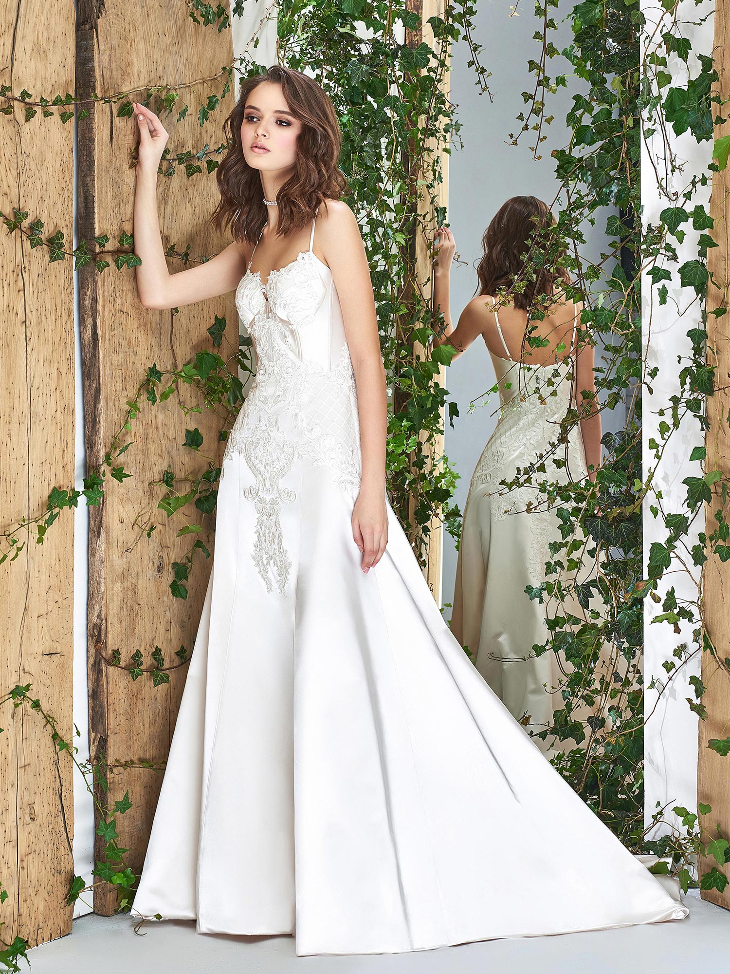 Papilio A-line wedding dress with a bustier-style corset ...