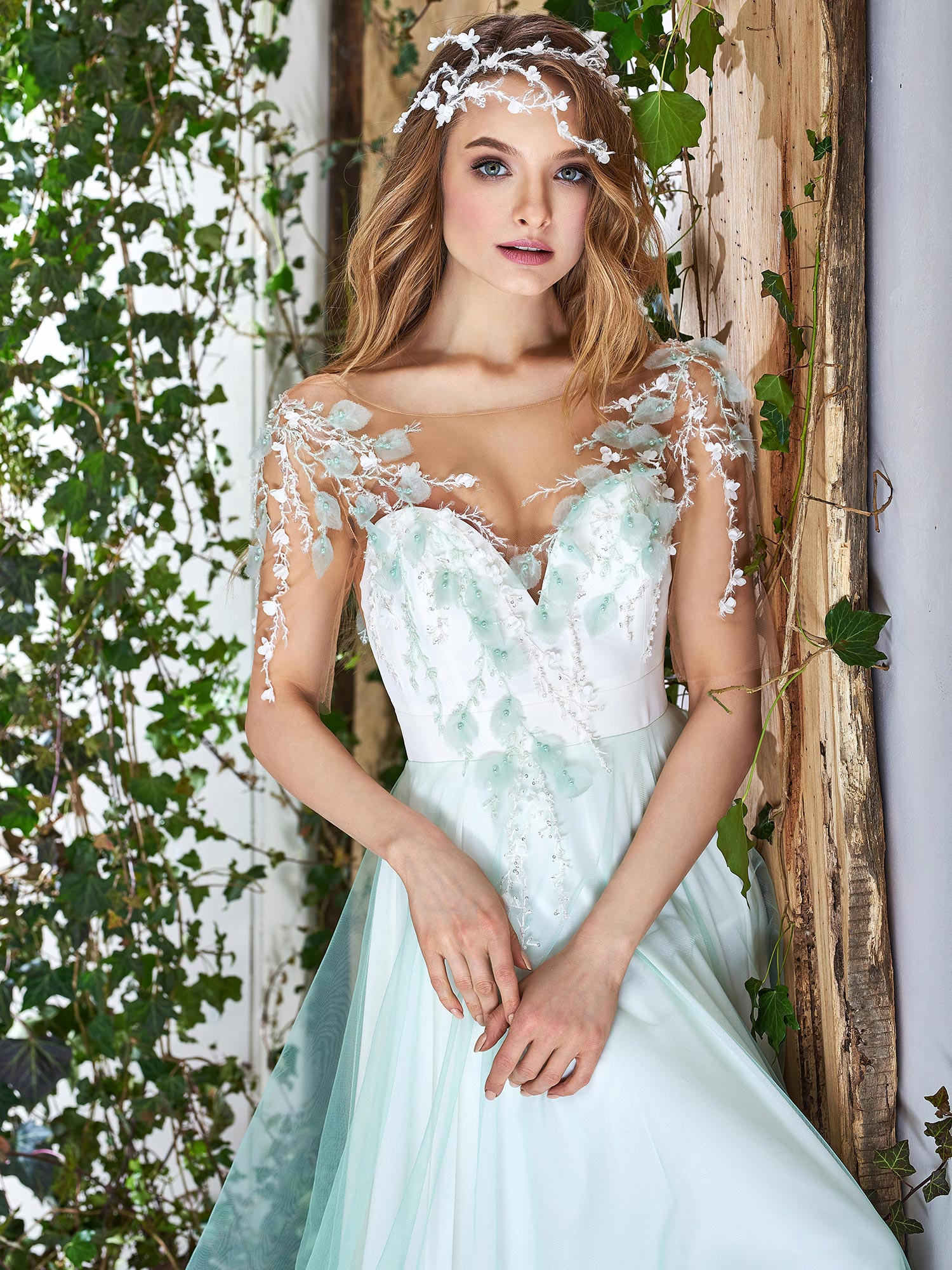 Papilio flowy tulle wedding dress with floral embroidery for Flower embroidered wedding dress