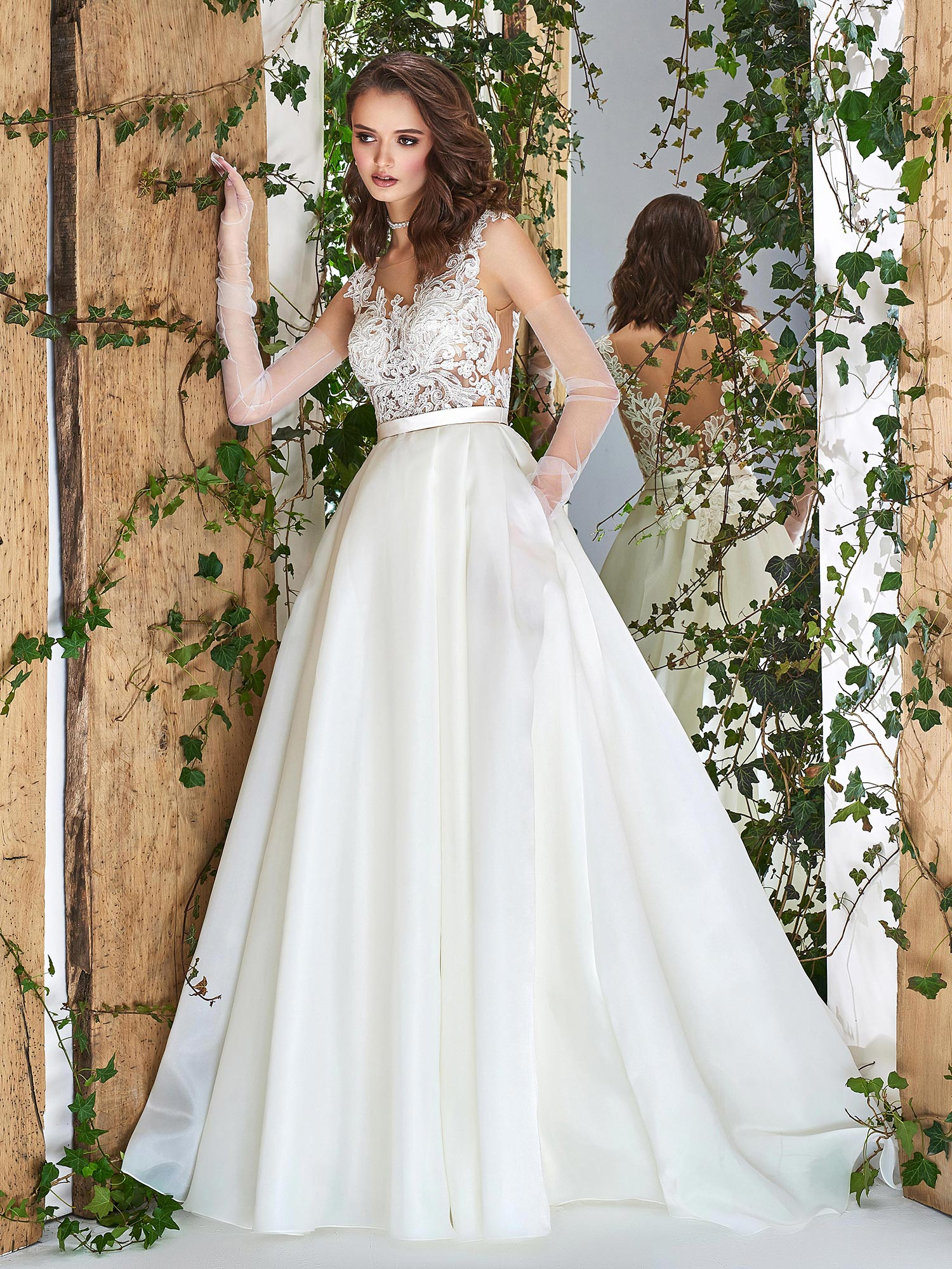 Papilio Ball gown wedding dress with see-through lace bodice and ...