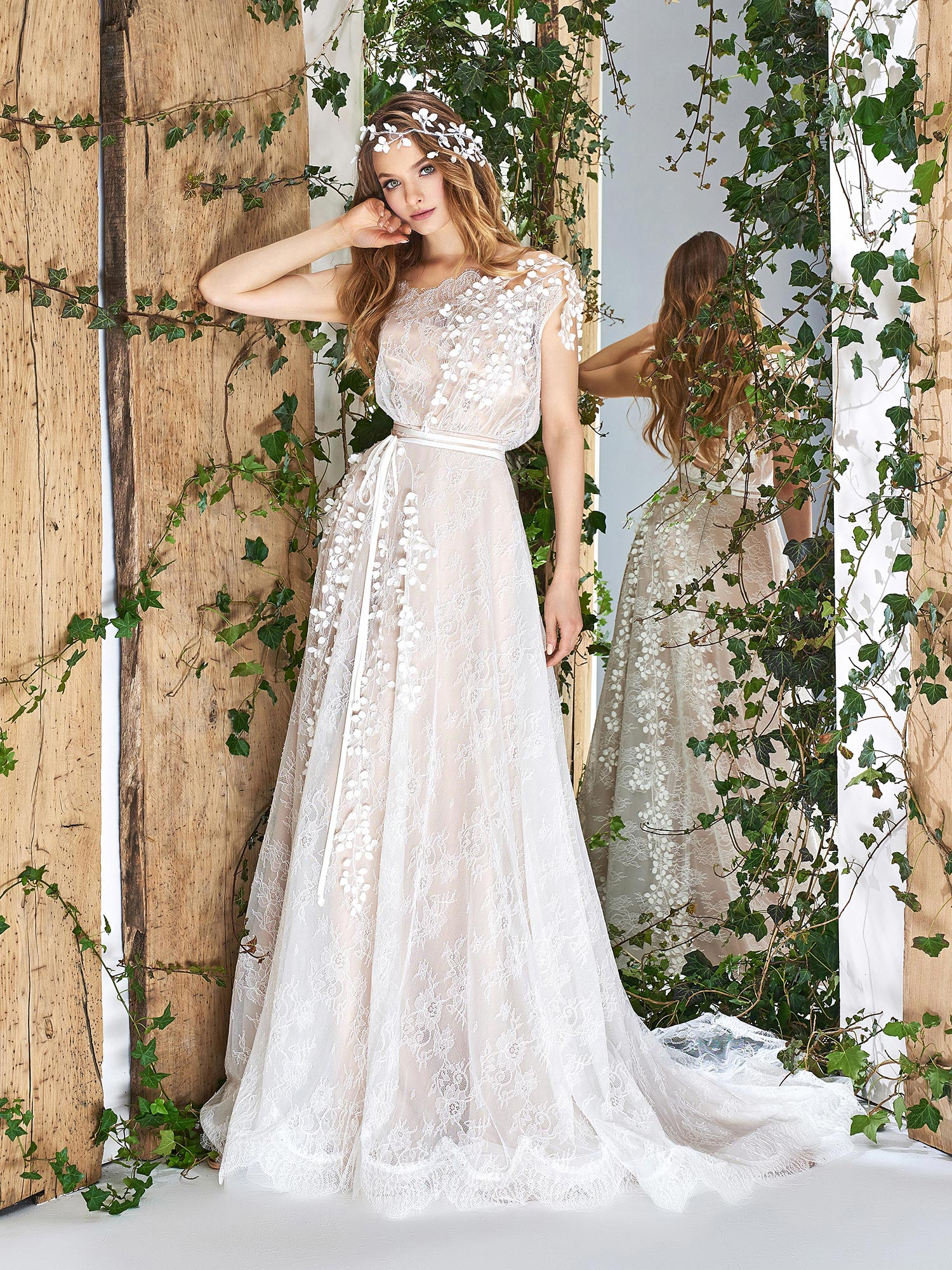 Papilio Cap sleeve A-line wedding dress with 3D floral embroidery
