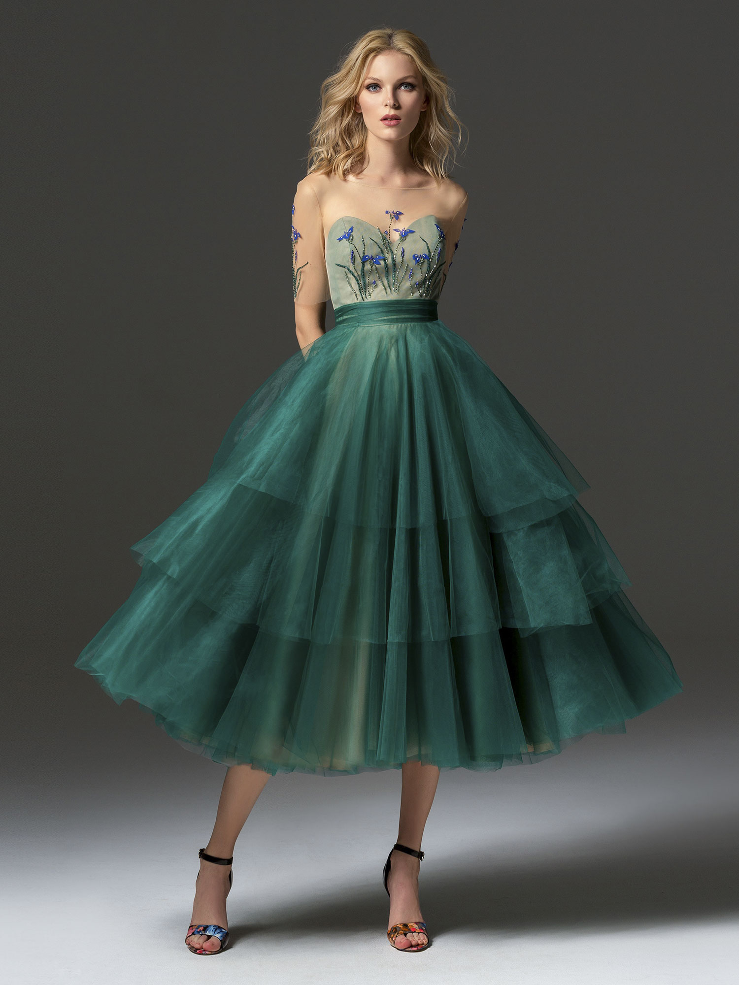 One Strap Tiered Tulle Dress