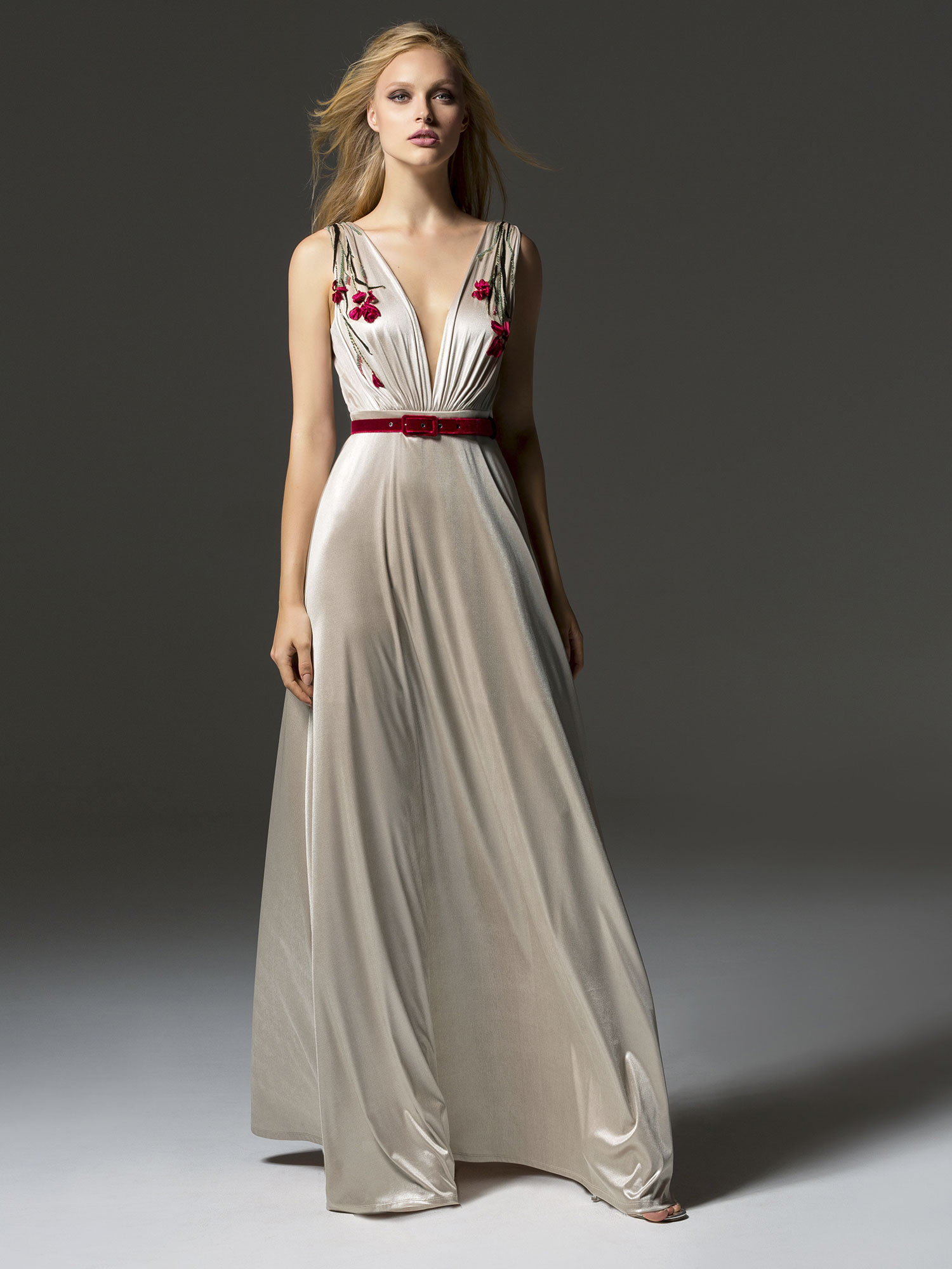 Papilio Evening gown with plunging illusion neckline and velvet belt