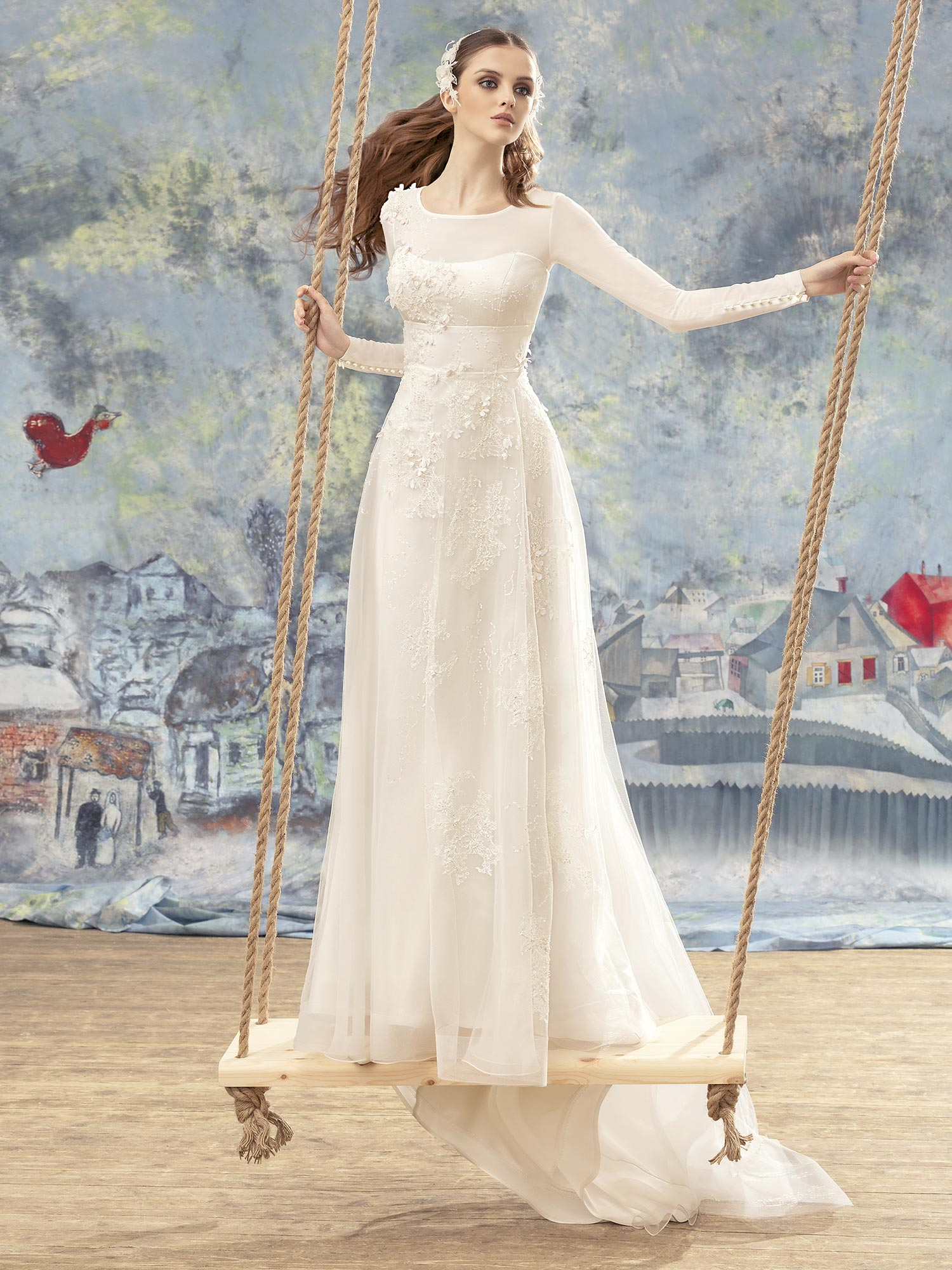 Papilio Long-sleeve A-line wedding gown with 3D floral appliques