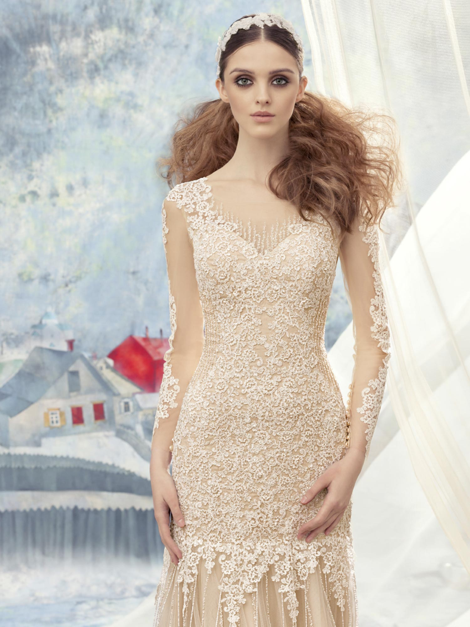 Papilio Long sleeve lace wedding dress with a mermaid fit and tulle ...