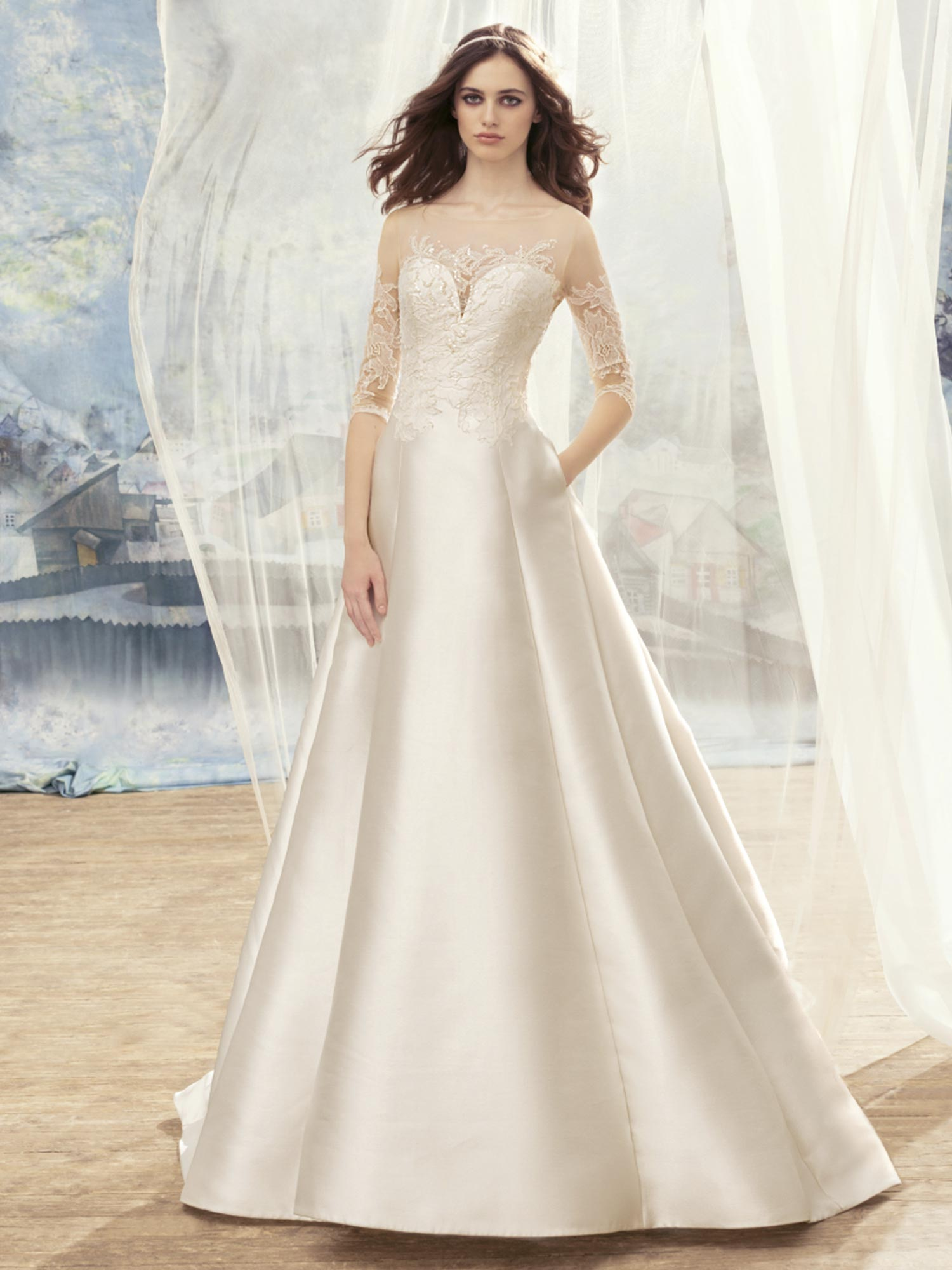 Papilio Mikado A-line wedding dress with lace sleeves