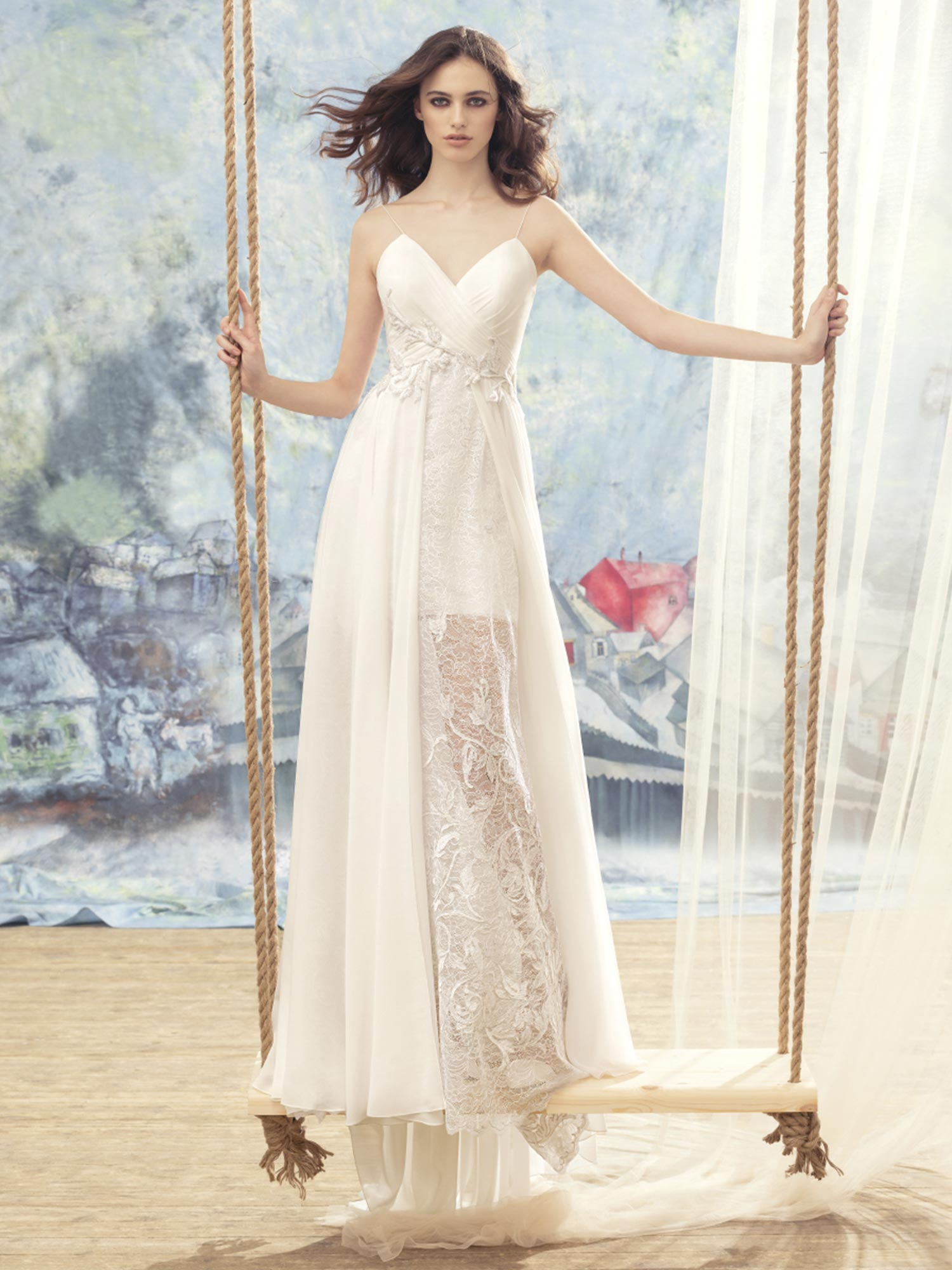 Spaghetti Strap Wedding Dress With Sheer Lace Skirt