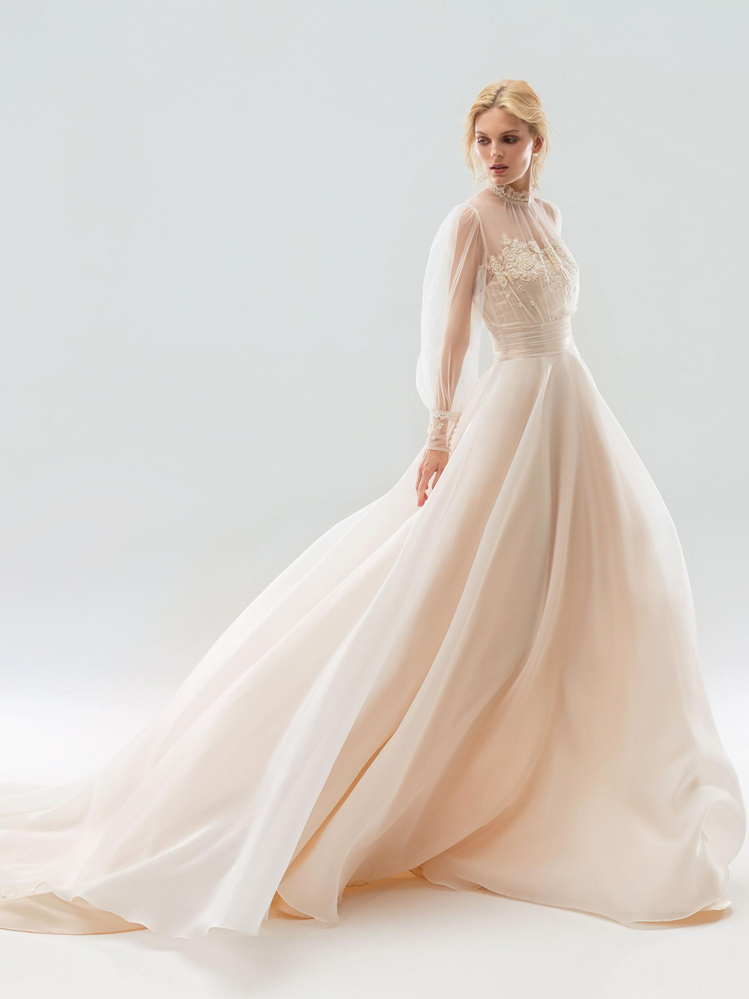 Bishop Sleeved Wedding Dress With High Neckline And Lace Embroidery