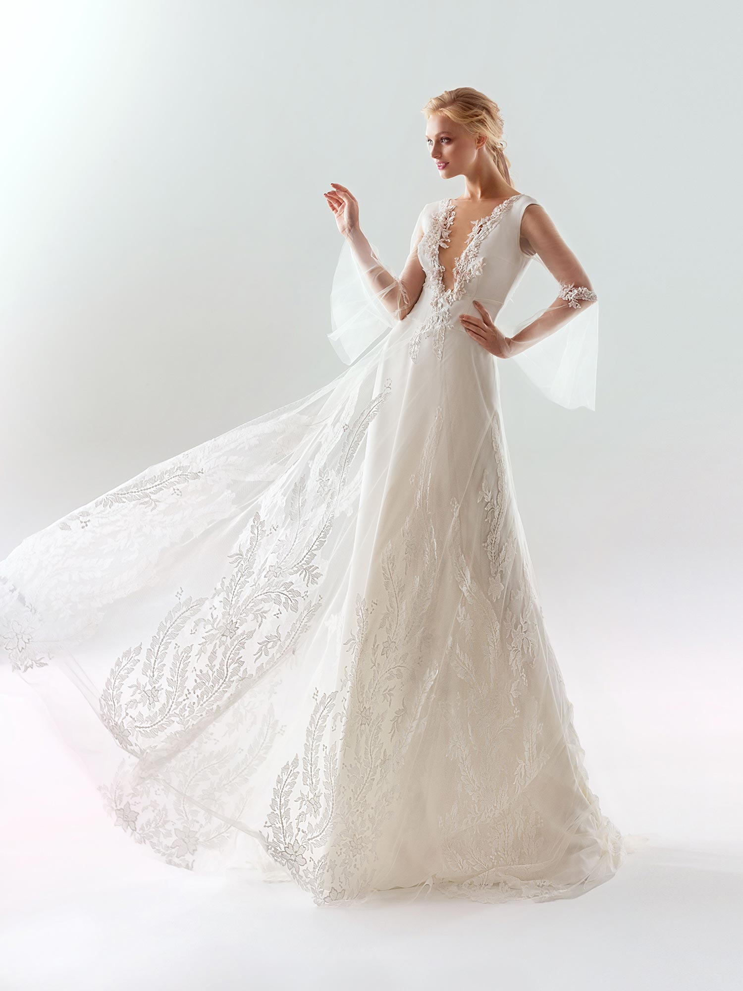 714401b7abc9 Home / Bridal Fashion / Bell sleeved A-line wedding dress with plunging  illusion neckline