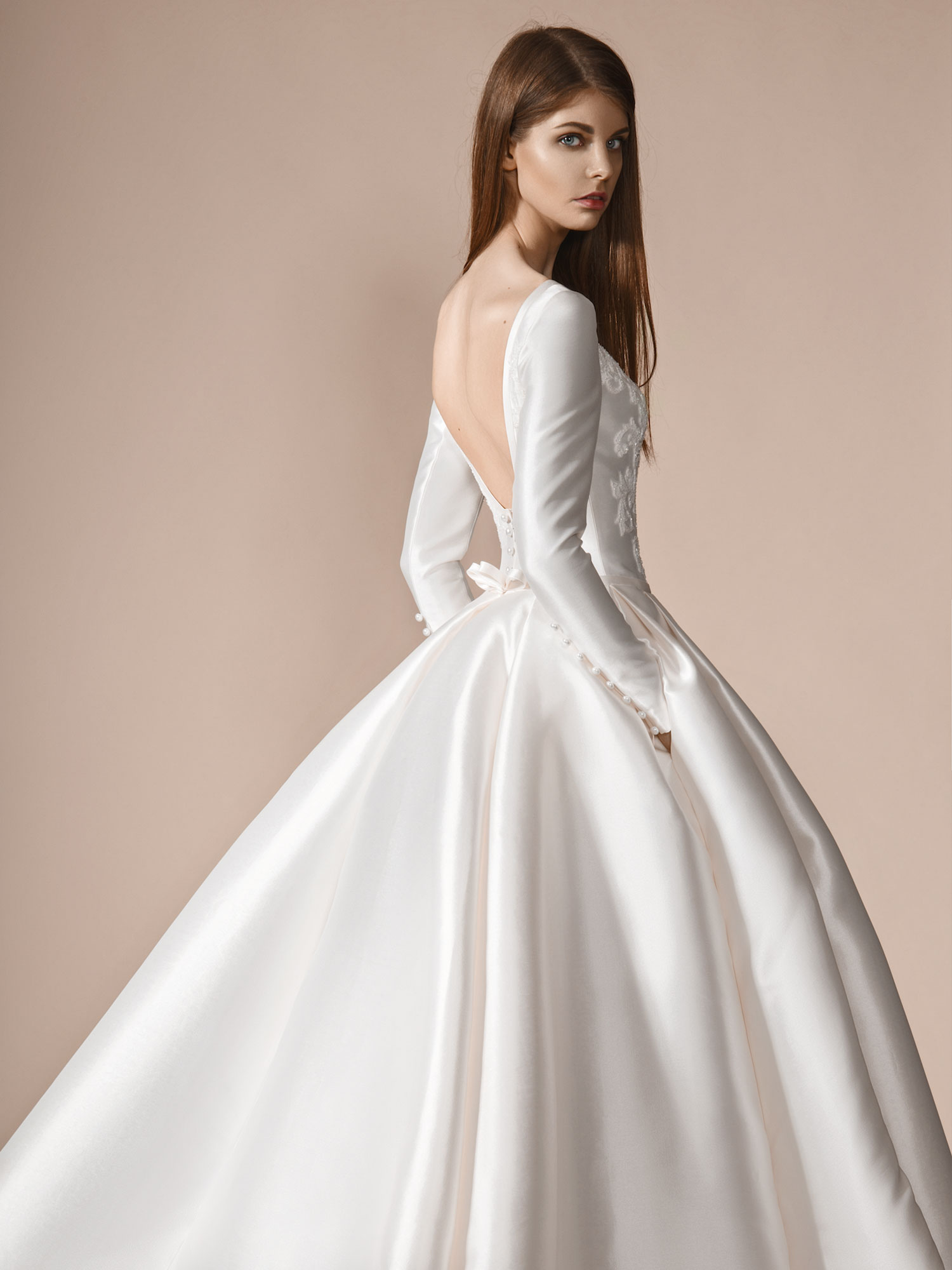 895b596ba1 Home   Bridal Fashion   Dramatic long sleeve Mikado ball gown wedding dress