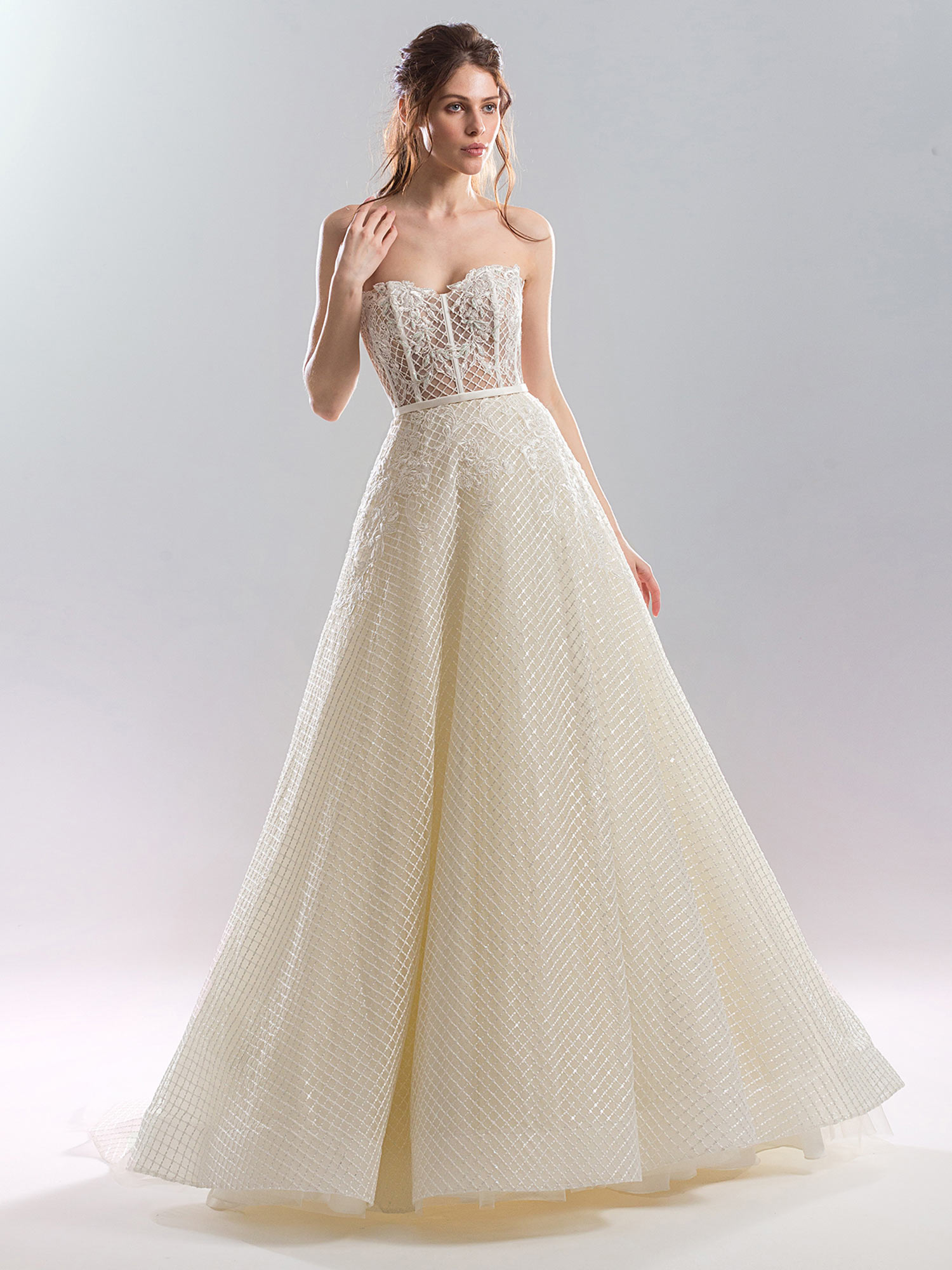 Strapless A Line Wedding Gown With Sheer Bodice And Sequined Fabric