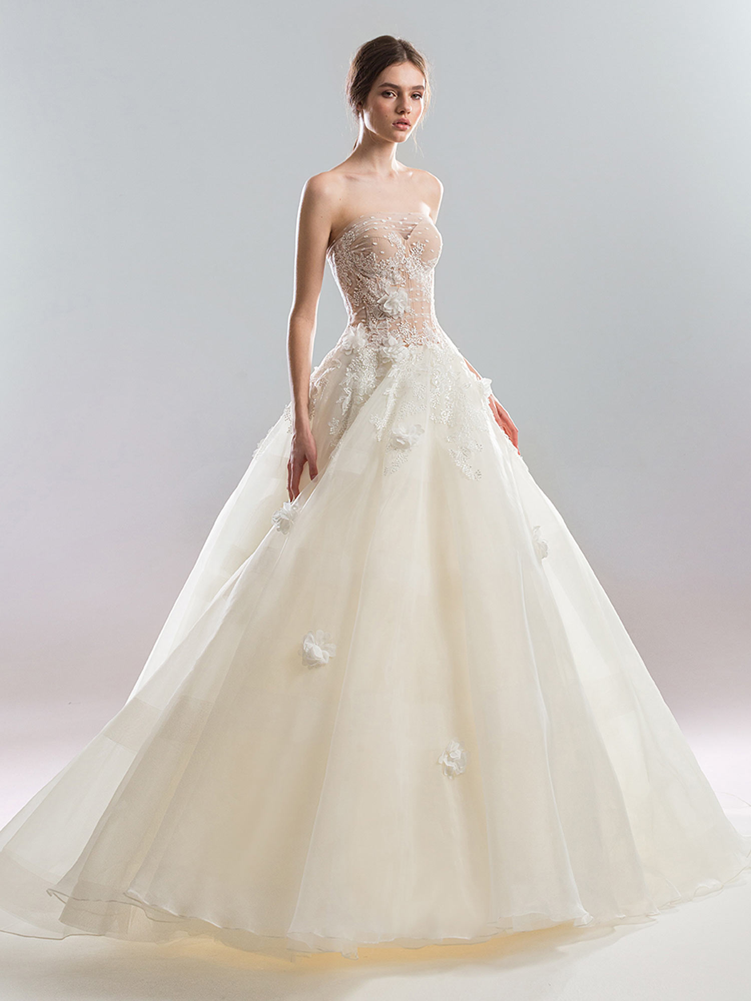 6e399b916 Home / Bridal Fashion / Strapless ball gown wedding dress with floral  applique and sheer overlay