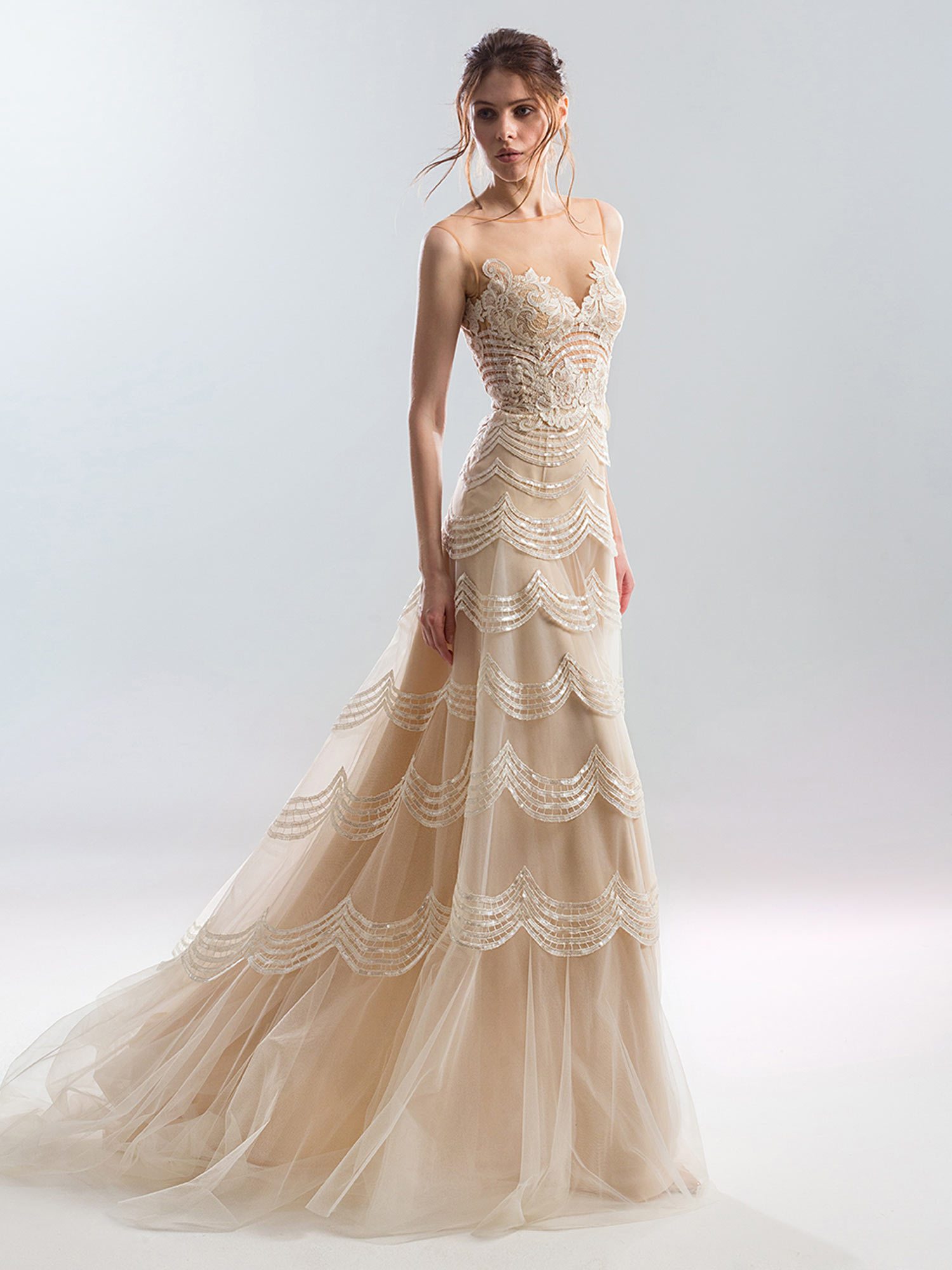 Sheath wedding dress with illusion neckline and scalloped embroidery