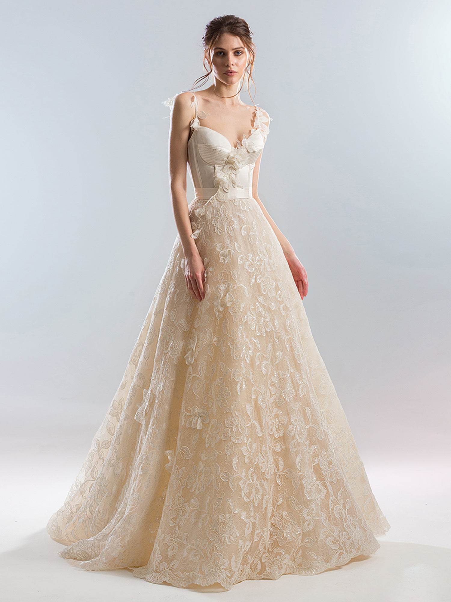 Bustier Style A Line Wedding Dress With Beaded Lace Skirt And 3d Flowers