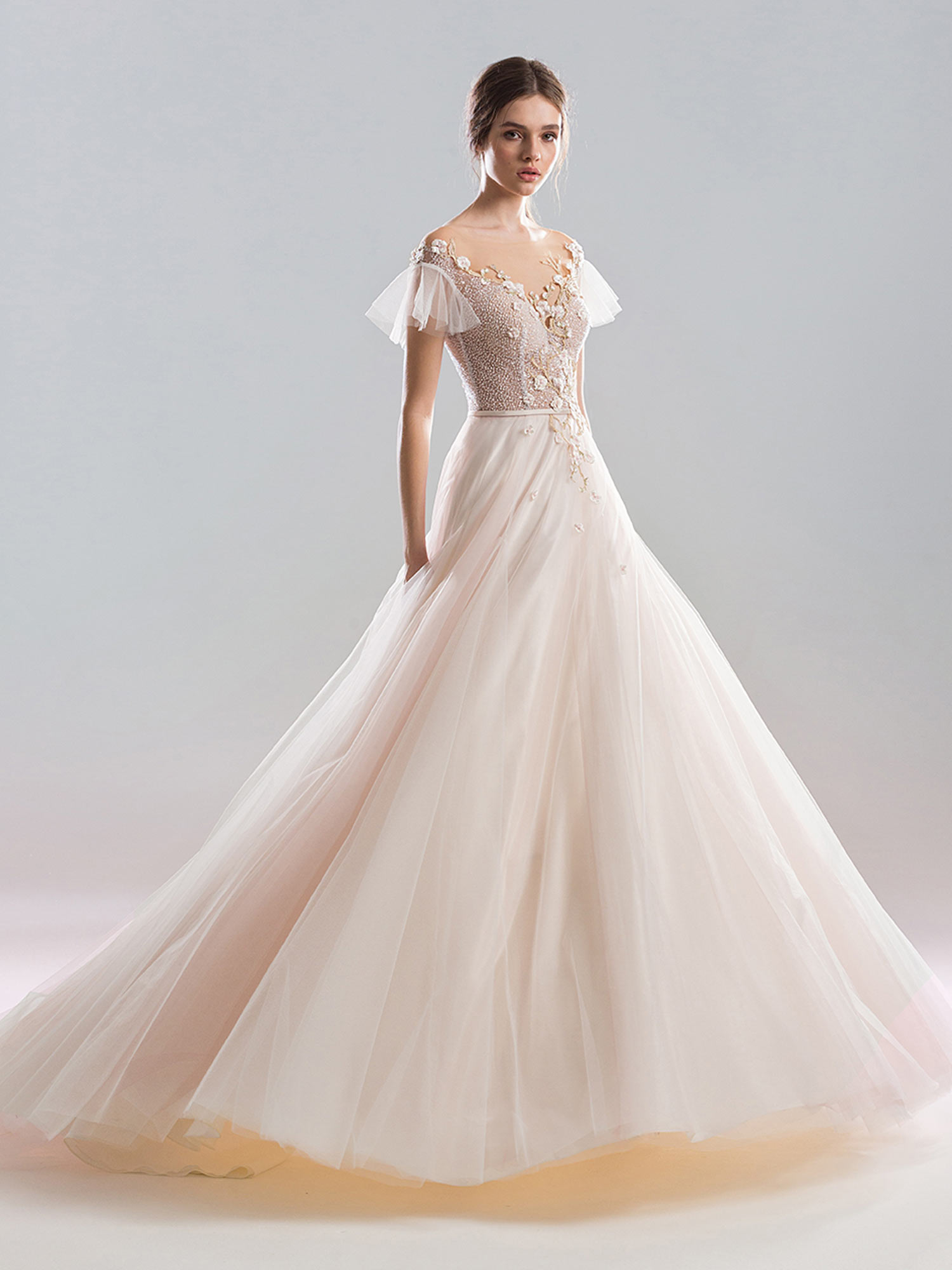 A Line Wedding Dresses.Cap Sleeved A Line Wedding Dress With Beaded Bodice And Floral Details