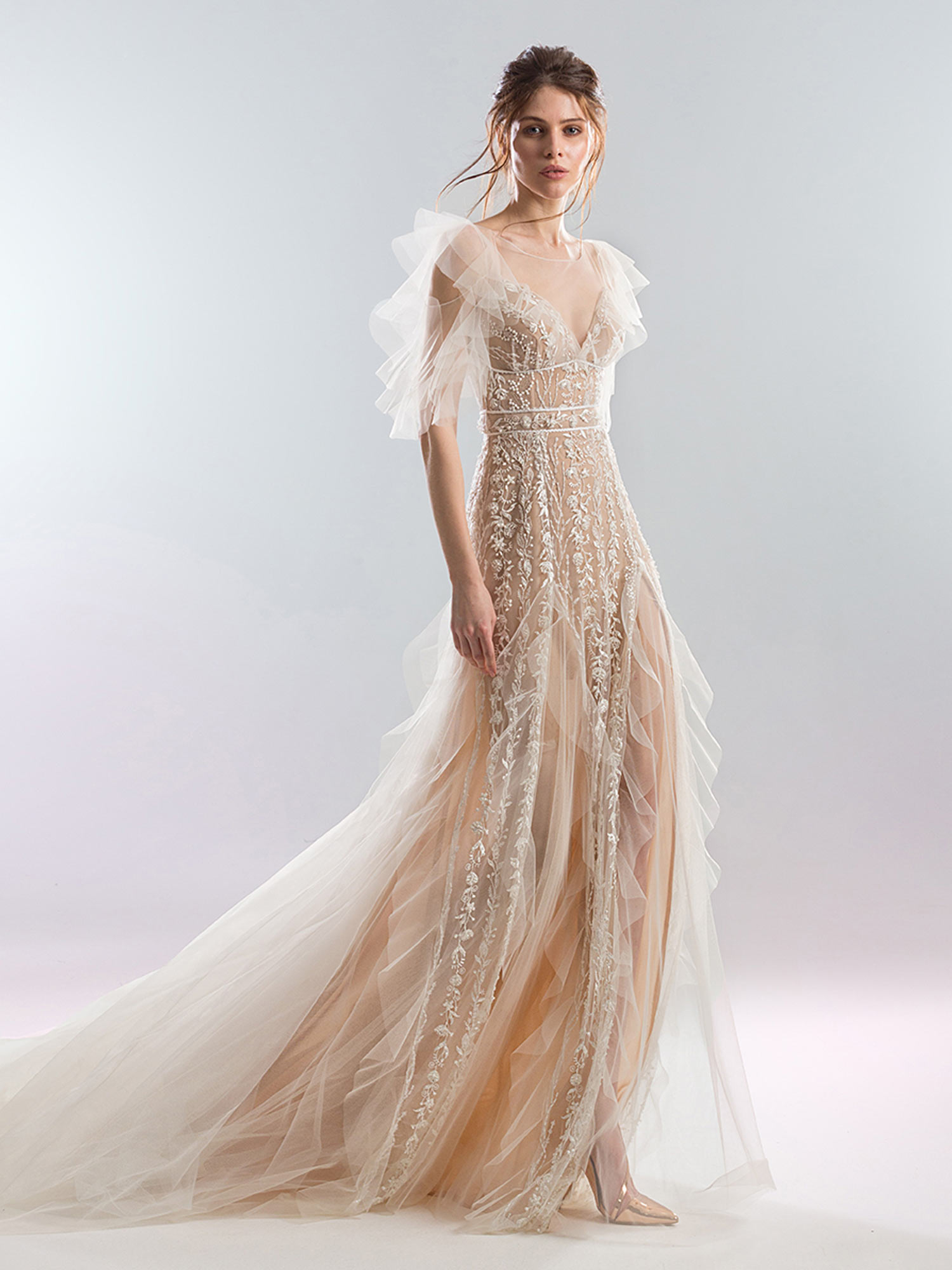 Sheath Wedding Dress.Ruffled Sheath Wedding Dress With Dramatic Sleeves And Floral Beading