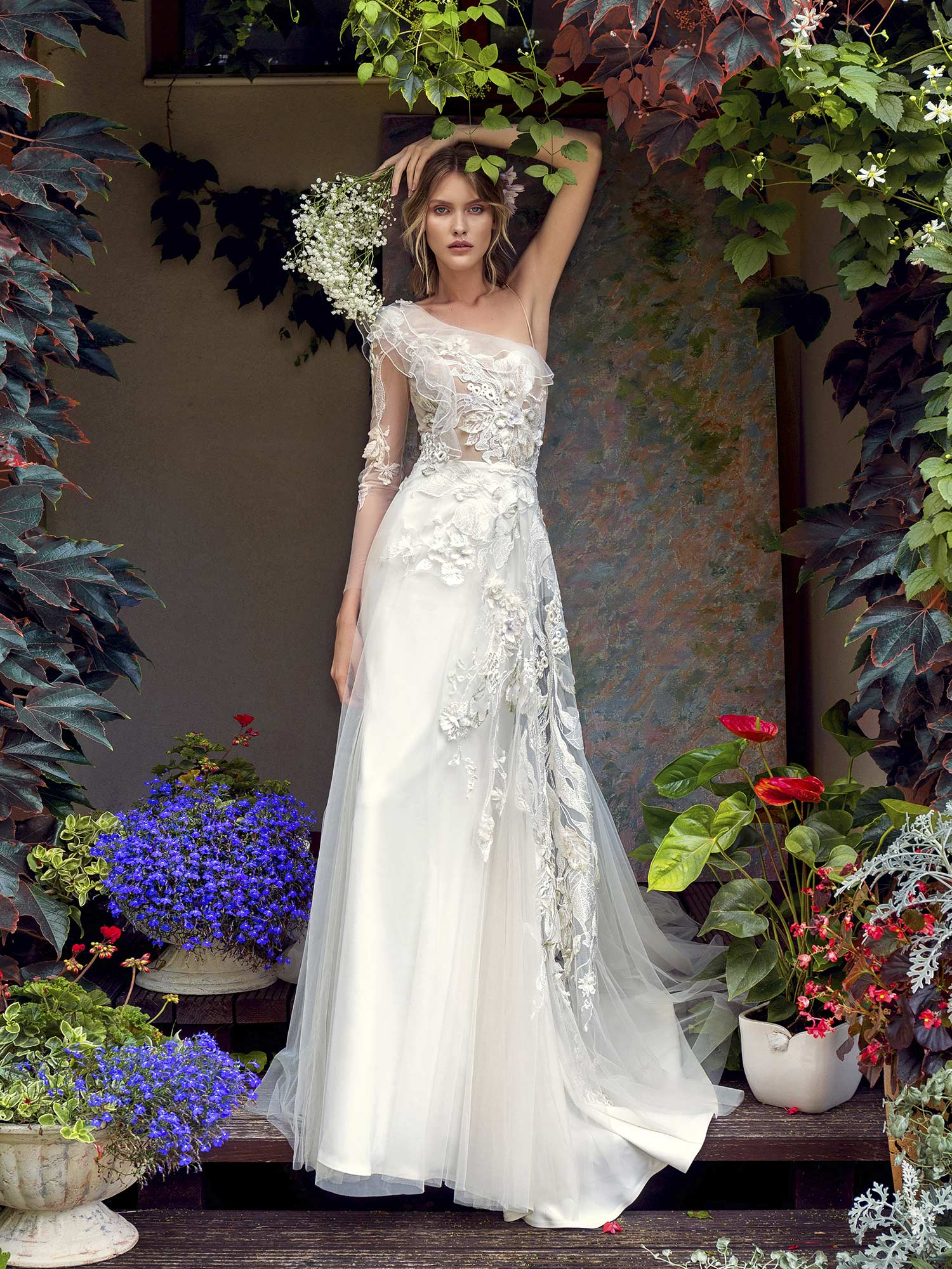 Papilio One Shoulder Wedding Dress With Asymmetrical Floral Embroidery