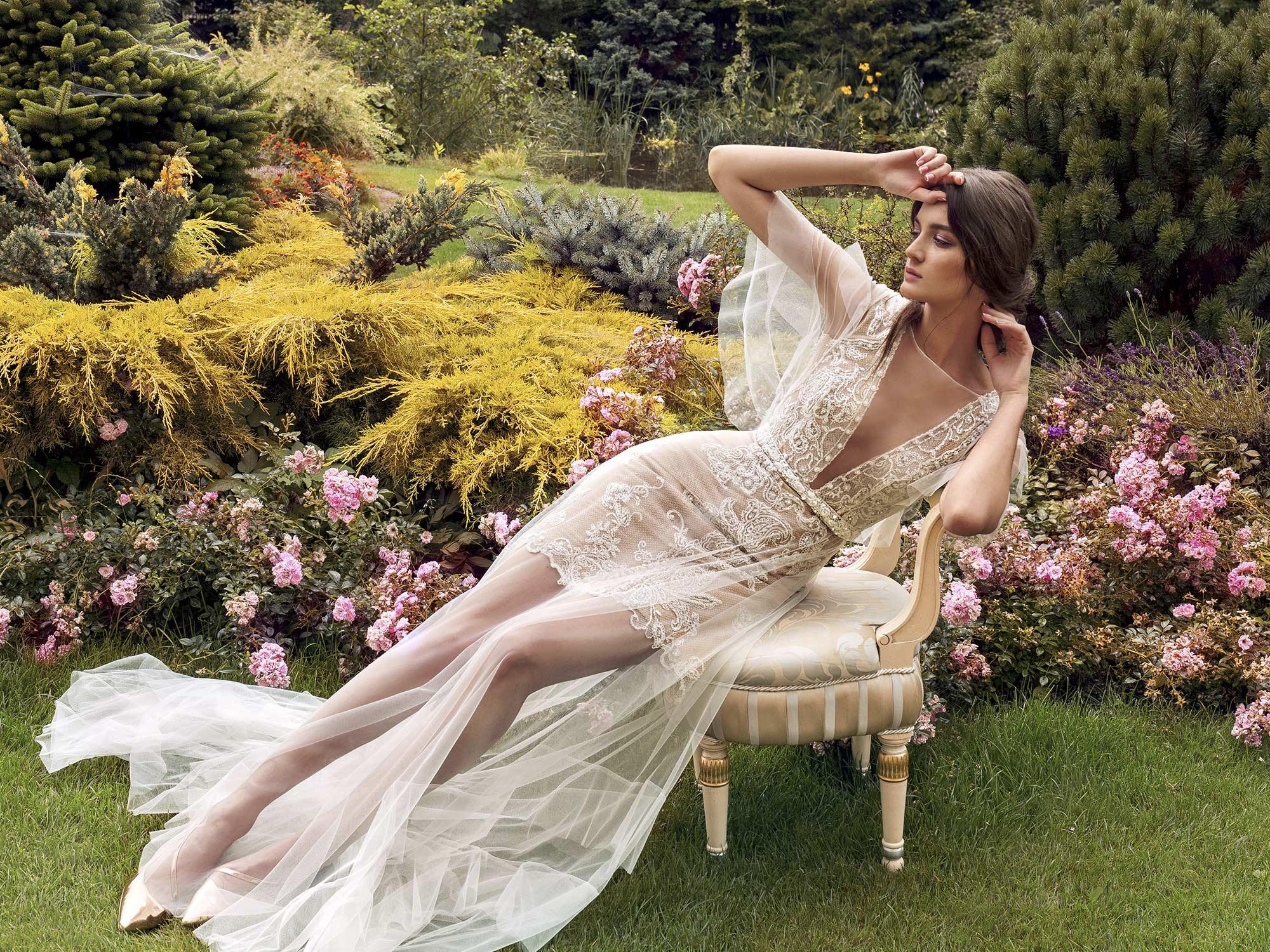 Papilio Short Wedding Dress With Long Tulle Overlay